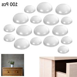 100 Pcs Round Self Adhesive Bumpers Clear Pads Furniture Doo