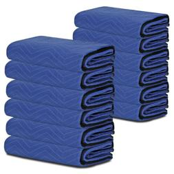 "12 Pack Moving Blankets 80"" x 72"" Pro Economy Blue Shipping"