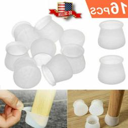 16PCS Silicone Chair Leg Cap Cover Furniture Feet Round Prot