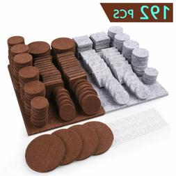 192 Pcs Furniture Felt Pads Chair Leg Floor Protectors Hard