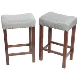 2 PCS Counter Height Bar Stools Kitchen Pub Chairs Wood Line