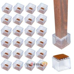 24x Chair Table Foot Protector Caps Pads Squar Bottom Non-Sl