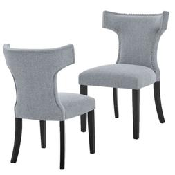 2Pack Solid Wood Legs Padded Nailhead Trim Dining Chair for