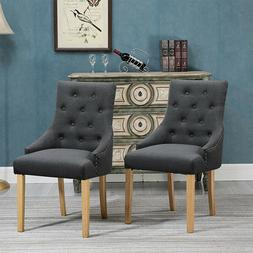 2Pcs Dining Chairs Fabric Button Tufted Padded Dining Room K