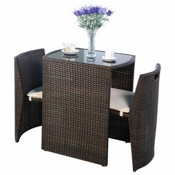 3 PC Brown Outdoor Chair Dining Table Restaurant Patio Deck