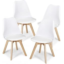 4 Dining Chairs Modern Style Beech Wood Legs Upholstered Sid