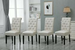 4x Button Tuft Dining Chair Parsons Padded Seat Wood Legs Li
