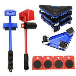 5pcs Furniture Lifter Wheel Kit w/Slider Shift Mover Pads Ho
