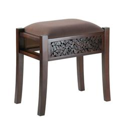 "Alma Stool 20"" Tall Intricate Carving Regal Base Suede Like"
