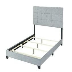Bed Frame With Headboard Gray Upholstered Panel Padded Bedro