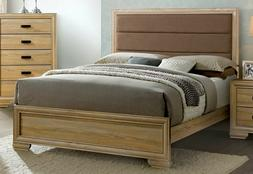 Bedroom Cal King Size bed Padded HB Bracket Feet Natural Fin