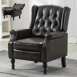 Breathing Leather Recliner Chair Push Back Padded Seat Roll