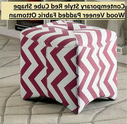 Contemporary Style Red Cube Shape Wood Veneer Padded Fabric