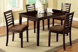 Dining Room Furniture Table + 4 Chairs with Padded Microfibe