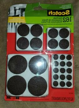 Scotch Felt Pads Value Pack, Round, Brown Assorted Sizes, 16