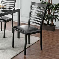FOA ARWEN Dining Side Chairs Black Padded Leatherette Furnit