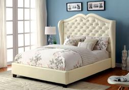 Ivory Color Padded Leatherette Headboard Eastern King Size B