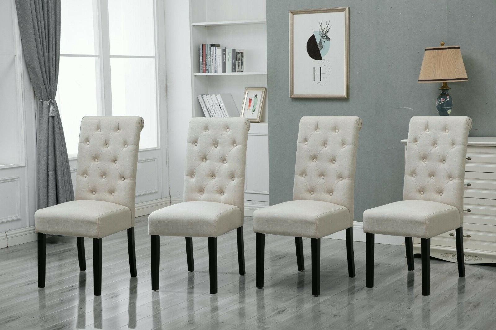 4x button tuft dining chair parsons padded