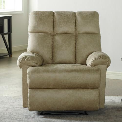 Leather Recliner Chair Padded Comfortable Soft Overstuffed Sturdy Structure