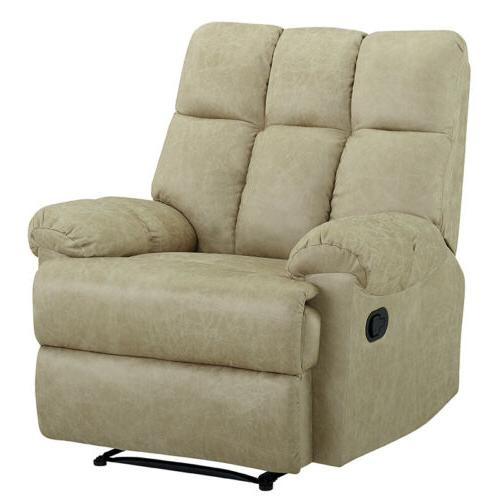 Leather Recliner Padded Comfortable Overstuffed