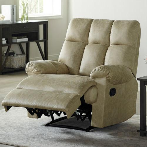 leather recliner chair padded comfortable soft overstuffed