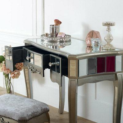 Mirrored padded stool French chic