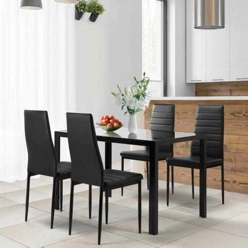 5pcs Glass Dining Table 4 Leather Kitchen Set