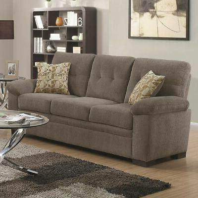 Transitional Micro Velvet Fabric & Wood Sofa With Padded Gre
