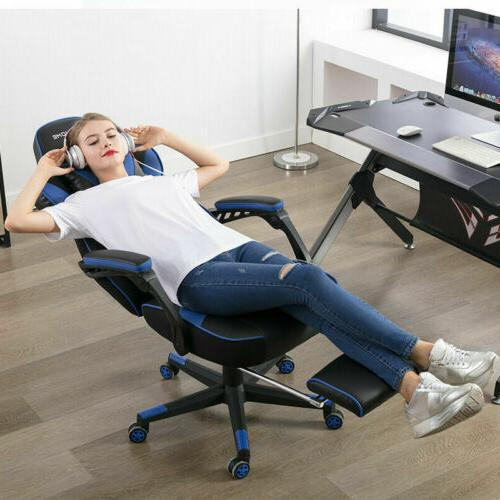Upgraded Version Gaming Chair Overstuffed Padded Chairs Footrest