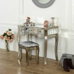 mirrored console dressing table padded stool set