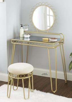 Modern Makeup Vanity Set Dressing Table Round Mirror Padded