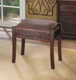 Modern Padded Cushion Brown Wood Bench Wide Vanity Seat Stoo