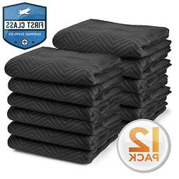"Moving Blankets 80"" x 72"" Pro Economy - 12 Pack - Black Ship"