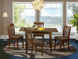 5pc rectangular dinette kitchen table with leaf + 4 padded c