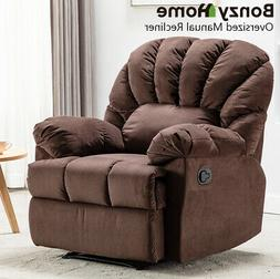 Overstuffed Manual Recliner Chair Sofa Soft Padded Backrest