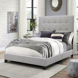Bed Frame Tall Button Tufted Padded Headboard Gray Upholster