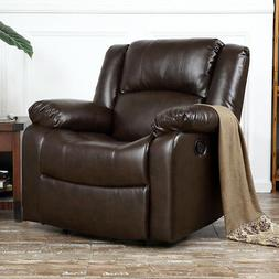 Recliner Chair Deluxe Club Large Overstuffed Cushion Faux Le