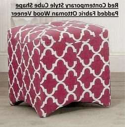 Red Contemporary Style Cube Shape Padded Fabric Ottoman Wood
