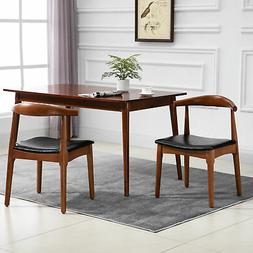 HOMCOM Set of 2 Dining Side Chairs Mid Back Padded Seat Wood