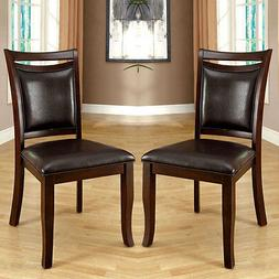 Set of 2 Woodside Transitional Dining Side Chairs Dark Cherr