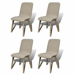 Set of 4 Pcs Beige Fabric Oak Dining Chair Home Furniture Th