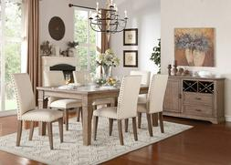 Traditional Look Padded Fabric Dining Table Chairs Dining Ro