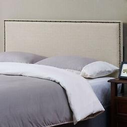 upholstered fabric padded headboard with nailheads beige