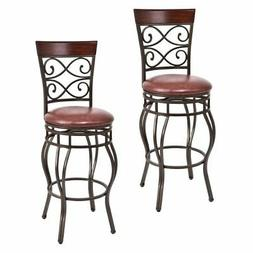 Set of 2 Vintage Bar Stools Swivel Padded Seat Bistro Dining